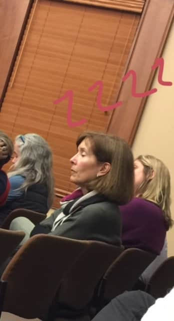 Village Council Candidate Janice Willet snoozed