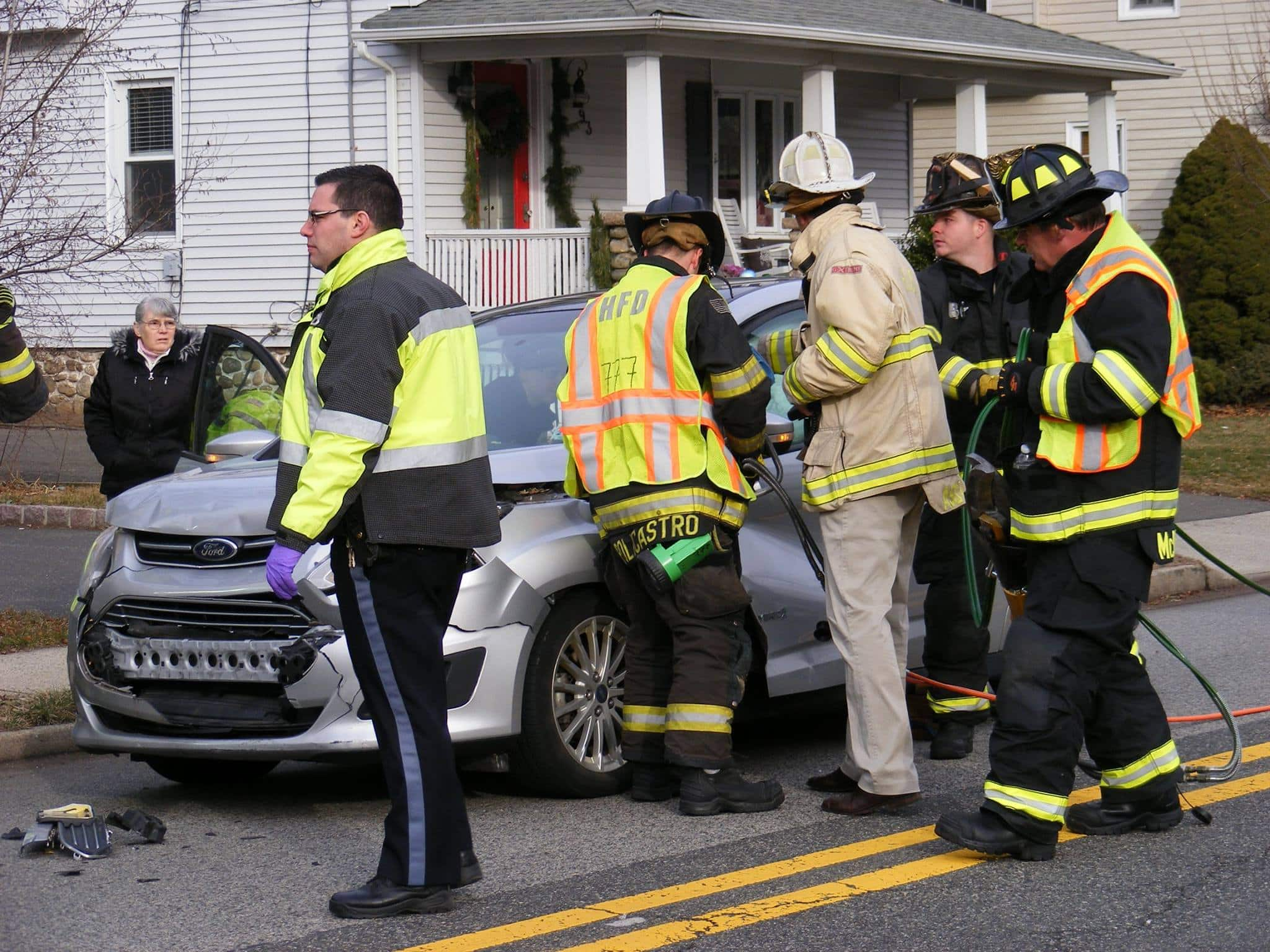 """""""Jaws of Life"""",  Extricate Driver , Ho Ho Kus NJ,  Rear End Collision"""