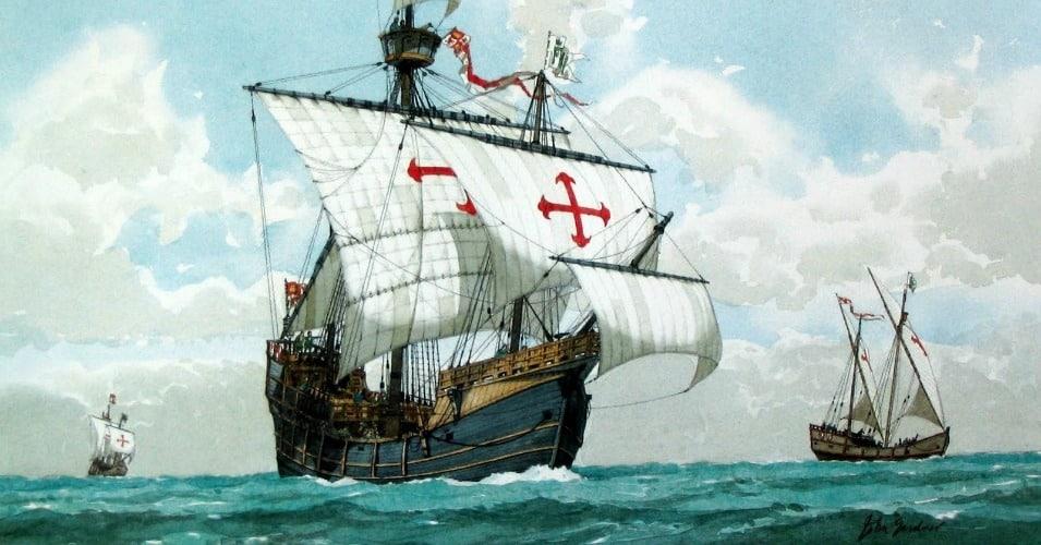 In fourteen hundred ninety-two Columbus sailed the ocean blue